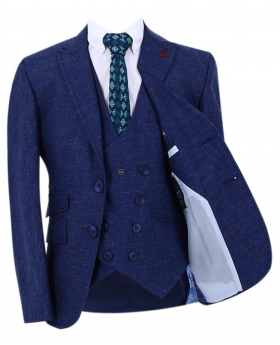 Boy's Check Slim Fit Suit Formal Jacket and double-breasted waistcoat  in Navy Blue with accessories  front open picture