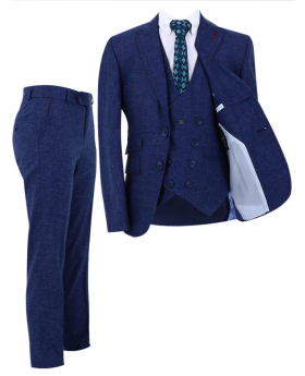 Boy's Check Slim Fit Suit Formal 3 Piece Set in Navy Blue front picture