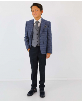 Boy's Check Tweed Slim Fit Blue Jacket and  grey single-breasted waistcoat with accessories  model front picture