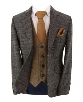 Boy's Check Tweed Slim Fit Jacket in Dark Brown and tan brown single-breasted waistcoat with accessories front open picture