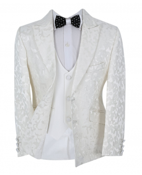 Boy's Communion Patterned Slim Fit Jacket and single-breasted waistcoat  in Ivory front open picture