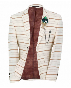 Boy's Horizontal Striped Slim Fit Fashion Blazer in Beige with Brown Stripes with accessories  front open picture