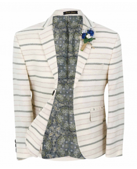 Boy's Horizontal Striped Slim Fit Fashion Blazer in Beige with Green Stripes  front open picture