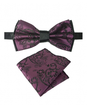 Boy's & Men's Adjustable Neck Strap Floral Paisley Bow Tie and Hankie Set in Purple for Formal and Special Occasion Events