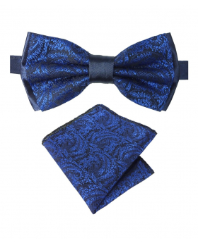 Boy's & Men's Adjustable Neck Strap Paisley Bow Tie and Hankie Set in Navy Blue for Formal and Special Occasion Events