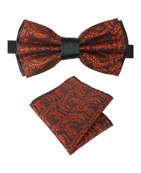 Boy's & Men's Adjustable Neck Strap Paisley Bow Tie and Hankie Set in Red for Formal and Special Occasion Events
