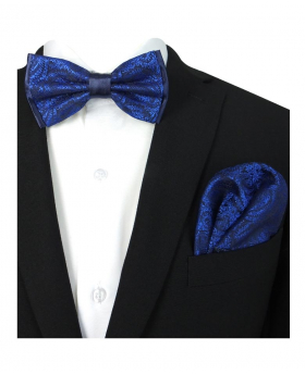 Boy's & Men's Swirls Paisley Dickie Bow Tie and Hanky Set in Navy Blue for Formal and Special occasion Events with Shirt and Suit Jacket