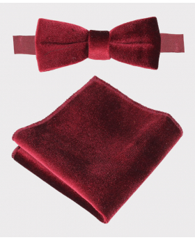 Boy's & Men's Velvet Dickie Bow Tie and Hankie Set in Claret Red