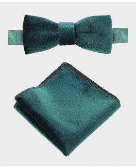 Boy's& Men's Velvet Dickie Bow Tie and Hankie  Set in Green