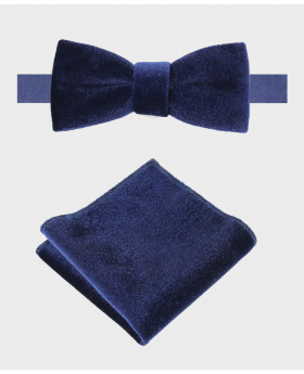 Boy's & Men's Velvet Dickie Bow Tie and Hankie  Set in Navy Blue