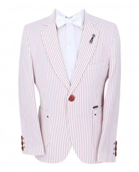 Boy's Striped Boating Slim Fit Blazer with accessories in Burgundy front picture