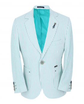 Boy's Striped Boating Slim Fit Blazer in Green front picture