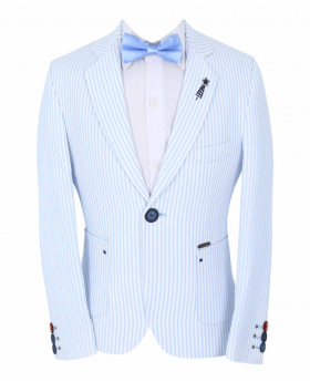 Boy's Striped Boating Slim Fit Blazer  with accessories in Sky Blue front picture