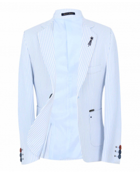Boy's Striped Boating Slim Fit Blazer in Sky Blue front open picture