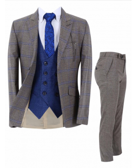 View of the Boy's Windowpane Check Slim Fit Suit Formal 3 Piece Set in Light Brown with trouser