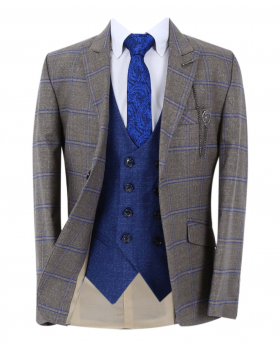 Boy's Windowpane Check Slim Fit Suit Formal Jacket and double-breasted waistcoat  in light brown with accessories open front picture