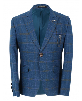 Boy's Windowpane Check Slim Fit Suit Formal Jacket  in Petrol Blue front picture