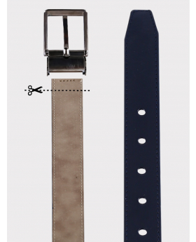 Boys Adjustable Matt Navy Faux Leather Belt details picture