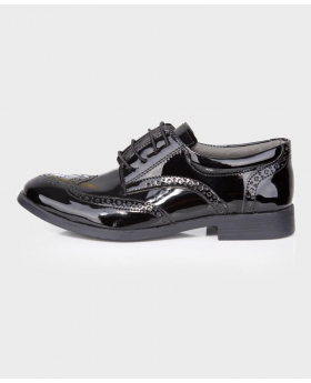 Boys Black Patent Formal Wedding Dress Brogue Shoesside picture