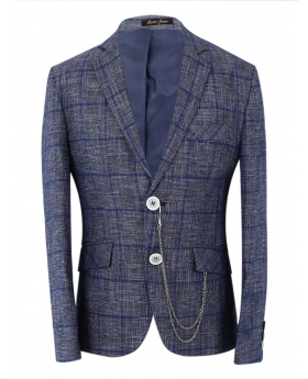 Boys Blue Check Slim Fit Suit Formal in Grey front picture