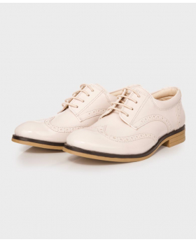 Boys Brand New Cream Patent Formal Brogue Shoes-pair
