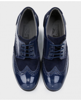 Boys Brand New Navy Suede & Patent Formal Brogue Shoes