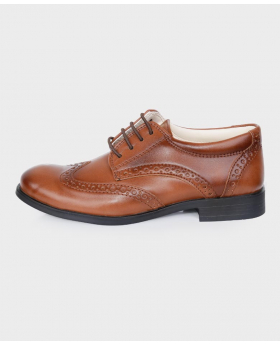 Tan Patent Formal Brogue Shoes-side