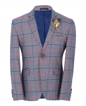 Boys Burgundy Windowpane Check Slim Fit Suit Formal Jacket in Blue front picture