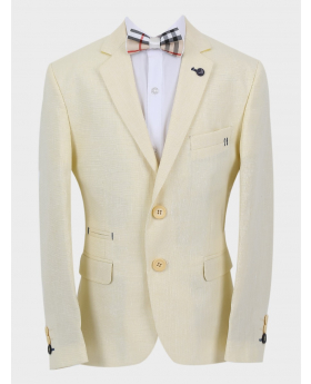 Boys Casual Linen Tailored Fit Blazer in Beige  with accessories front picture