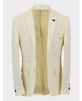 Boys Casual Linen Tailored Fit Blazer in Beige front picture