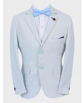 Boys Casual Linen Tailored Fit Blazer in Ice Blue with accessories Front Picture