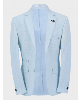 Boys Casual Linen Tailored Fit Blazer in Sky Blue front picture