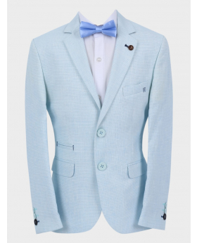 Boys Casual Linen Tailored Fit Blazer in Sky Blue with accessories front picture