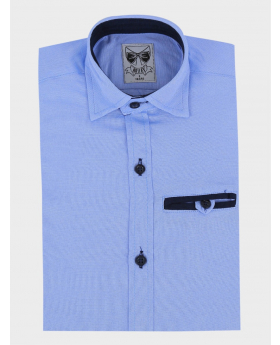 Boys Casual Oxford Cotton Slim Fit Long Sleeve Shirt sky blue front picture