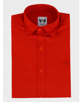 Boys Casual Oxford Cotton Slim Fit Long Sleeve Shirt red front picture