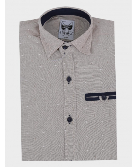 Boys Casual Oxford Dotted Slim Fit Long Sleeve Shirt in beige front picture