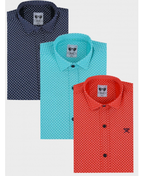 Boys Casual Slim Fit Long Sleeve Pattern Oxford Shirt in three colours navy blue, green and red front picture