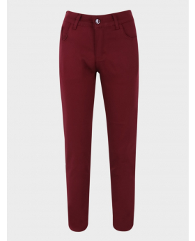 Boys Casual Stretch Boys Chino Pants in Burgundy  front picture