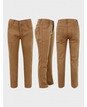 Boys Casual Stretch Chino Pants in Khaki Brown three side picture