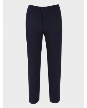 Boys Casual Stretch Chino Pants in Dark Navy Blue  front picture
