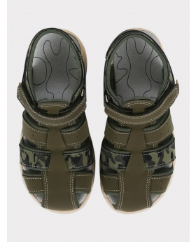 Boys Casual Trekking Sandals in Green front picture