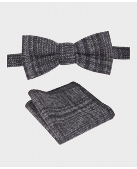 Boys Charcoal Grey Check Tweed Dickie Bow Tie and Hanky Set