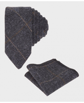 Boys Charcoal Grey Herringbone Tweed Windowpane Check Slim Tie and Hanky Set