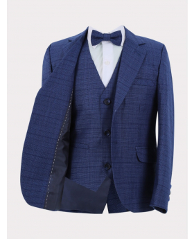 Boys Check blazer jacket with matching waistcoat and bow tie front  Picture