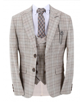 Boys Check Slim Fit jacket with double-breasted waistcoat and accessories in beige front picture