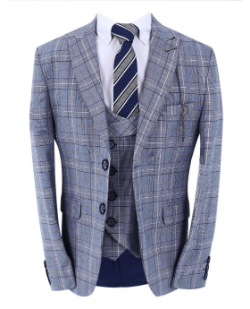 Boys Check Slim Fit Blue Jacket with double-breasted waistcoat and accessories front picture