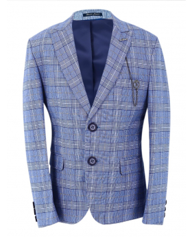 Boys Check Slim Fit Jacket in Light Blue front picture