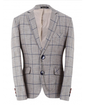 Boys Check Slim Fit Suit Formal jacket a in Beige front picture