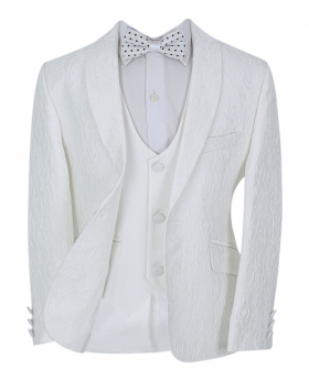 Boys Communion Floral Embroidered Slim FitSuit Jacket and waistcoat with accessories front open picture
