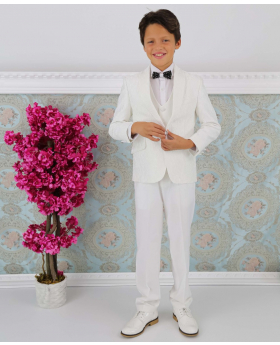 Boys Communion Floral Embroidered Slim Fit 3 Piece Suit Set in Ivory model front picture